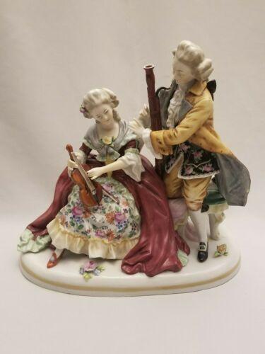 Antique DRESDEN Carl Thieme Hand Painted Musicians Violin 8.5