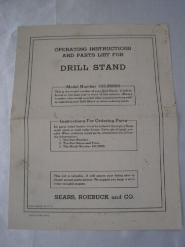 Vintage Sears Roebuck Drill Stand Operating Instructions and Parts List