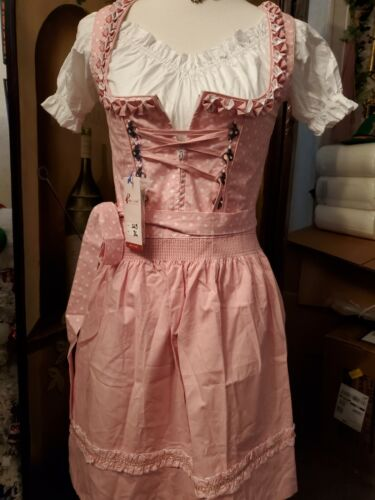 NEW!US Sz 4 Germany,Trachten,Dirndl,2-pc.ALTE LIEBE Pink.+ 1 FREE BLOUSE.Hearts