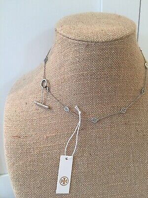 NWT Tory Burch Silver Tone Logo Toggle Short Necklace with Pouch