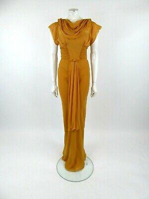 J. Mendel Women's Mustard Silk Long Gown Dress Size US 6 UK 10