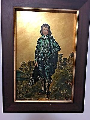 THE BLUE BOY OIL PAINTING ON BOARD 1970'S AFTER GAINSBOROUGH 24K GOLD FOIL BASE , used for sale  Shipping to Canada
