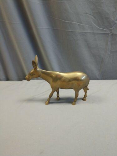 Antique Solid Brass Donkey Wild Burro Figurine - Miniature - Sculpture Vintage