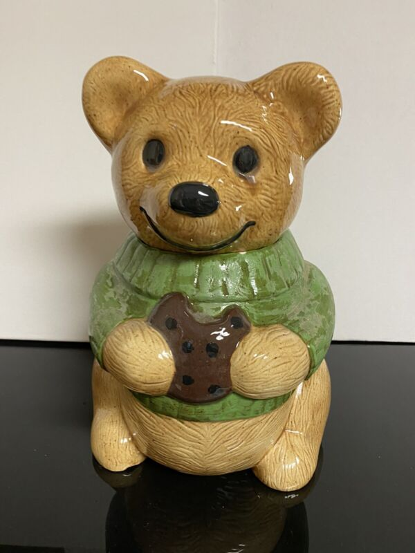 "Vintage Metlox California Teddy Bear Cookie Jar Green Great Rare Color ""LUCKY"""