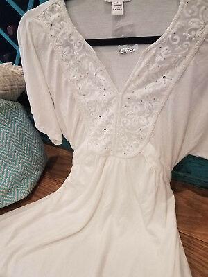Boutique White Kimono Dolman Bohemian Crochet Lace Resort Beach Mini Dress LARGE