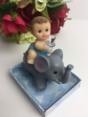 Baby Boy Elephant Baby Shower Decorations (Baby Shower Elephant Cake Topper Decoration Animal Safari Figurine Boy)