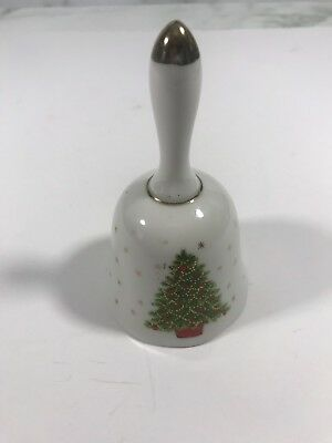 Vtg Decorated White CHRISTMAS TREE Hand Held Bell Ceramic Holiday Home Decor