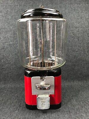 Vintage Acorn Red & Black Metal Nut Candy Dispenser Machine w/ Key 5 cents WORKS