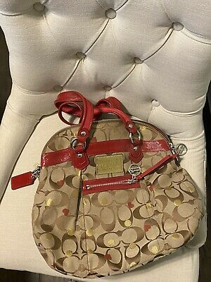 COACH Signature Brown Red Leather LRG Tote Purse Shopper Bag EUC