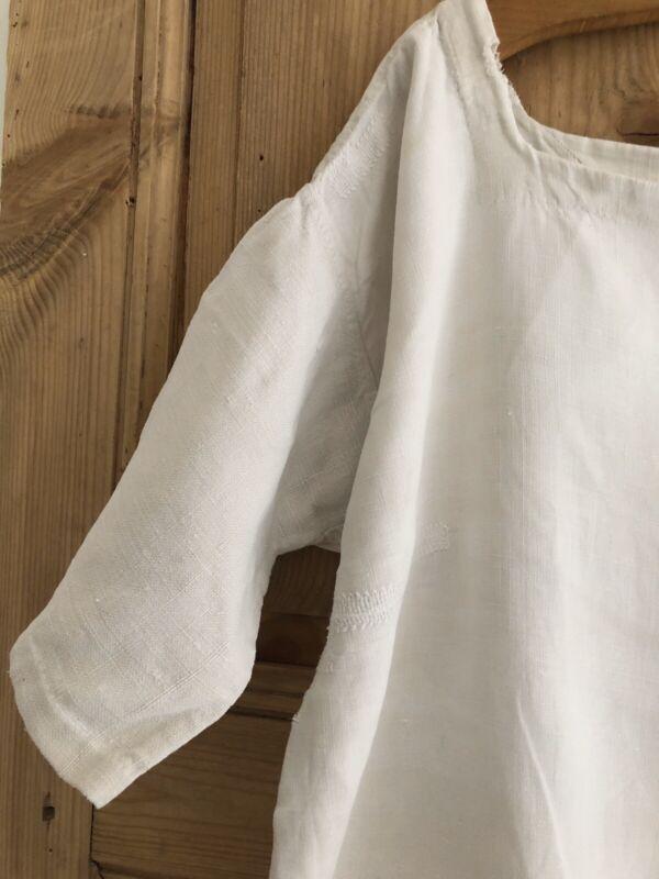 Antique French PRIMITIVE HOMESPUN LINEN nightshirt CE mono c1830