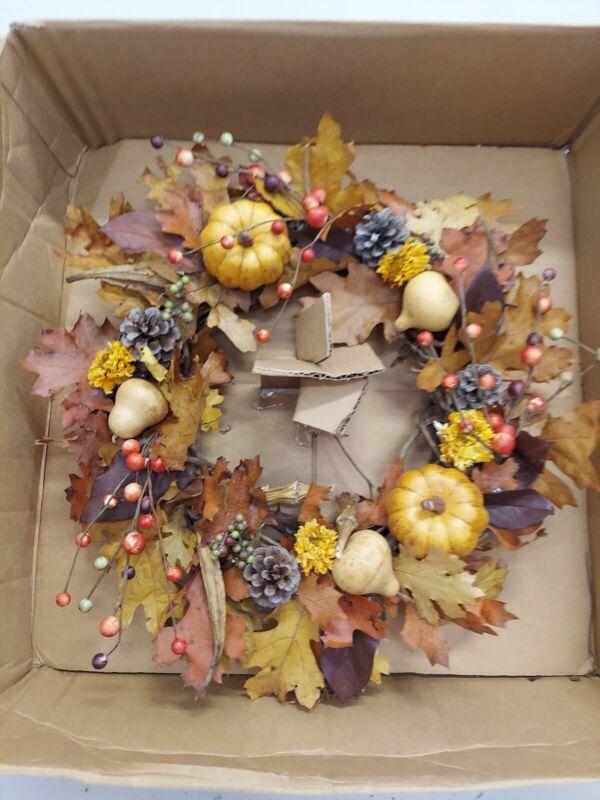 Pottery Barn Dried Autumn Pumpkin Wreath, Halloween/Fall/Thanksgiving, New/OPEN