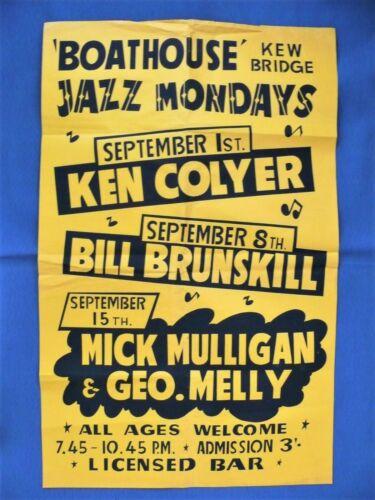 Original c1960 Jazz Poster Kew Boathouse Ken Colyer George Melly Mick Mulligan