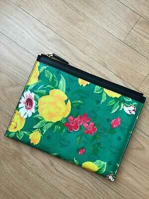 AUTHENTIC MCM Limited Edition Green Floral Zip Clutch