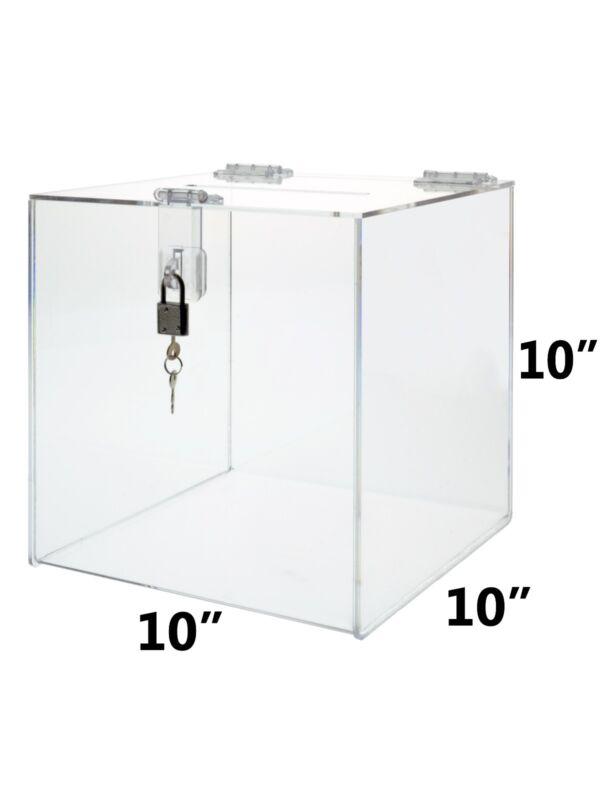 "10"" x 10"" Counter Top Locking Ballot Donation Suggestion Box Qty 6"