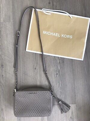 MICHAEL KORS GINNY STARS GREY SAFFIANO LEATHER MEDIUM CROSSBODY BAG TASSEL ~read