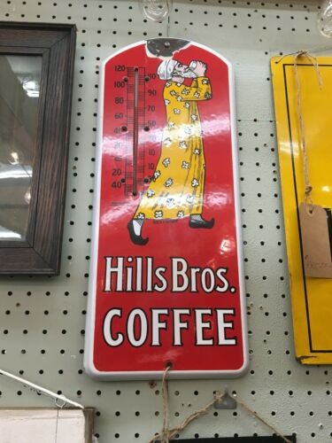 ANTIQUE Original PORCELAIN HILLS BROS. Coffee Thermometer Advertising WORKING