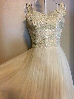 Vintage 50s  JR. THEME N.Y. Party Dress White Chiffon Skirt, Sequin Bodice Bodice Chiffon Skirt