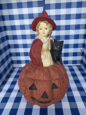Vintage 1990's Bethany Lowe Halloween Witch/Blk Cat On Pumpkin Container RETIRED