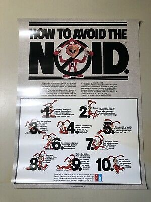 Vintage 1986 Domino's Pizza Noid Poster