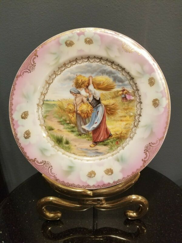 """Antique Prov SXE ES Germany Prussia Handpainted Plate Women Reaping Wheat 9.5"""""""