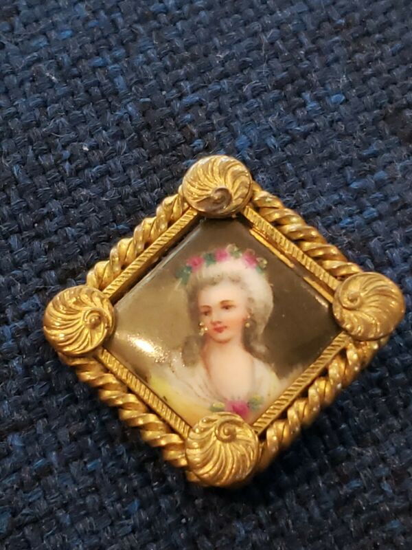 Antique Hand Painted Porcelain Portrait Brooch Cameo Gold Scraf Slide Victorian