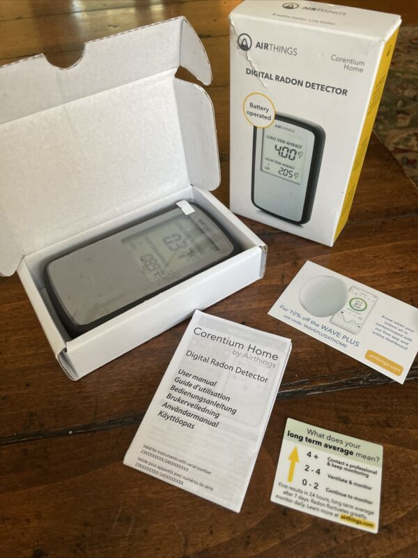Airthings Corentium Home Radon Detector Gas Monitor w/ Smart Digital LCD Display