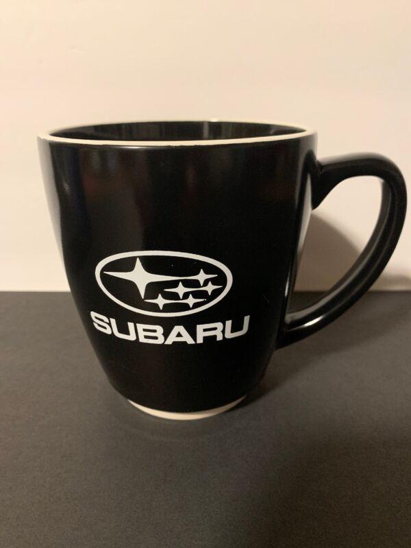 Subaru Large Ceramic Coffee Mug Black With White Trim Excellent Condition