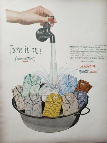 Vintage 1948 Arrow Sports Shirts Print Ad Ephemera Art Decor Cluett
