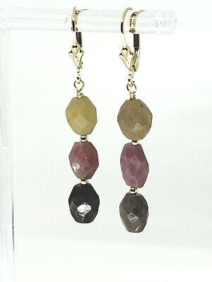 14k Yellow Gold Filled Umba Multicolor Sapphire Leverback Drop Dangle Earrings