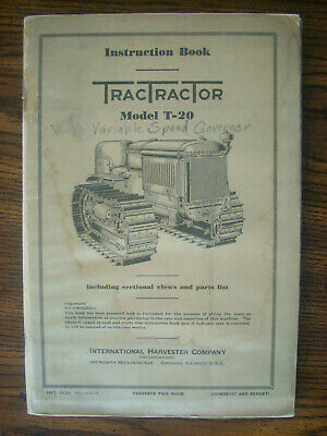 Ih Farmall Mccormick International T20 Crawler Owners Manual