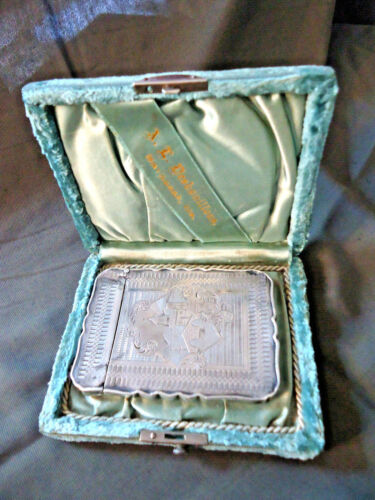 ANT STERLING SILVER ENGRAVED VICTORIAN CARD CASE PLUS ORIGINAL BOX W/JEWELERS NA