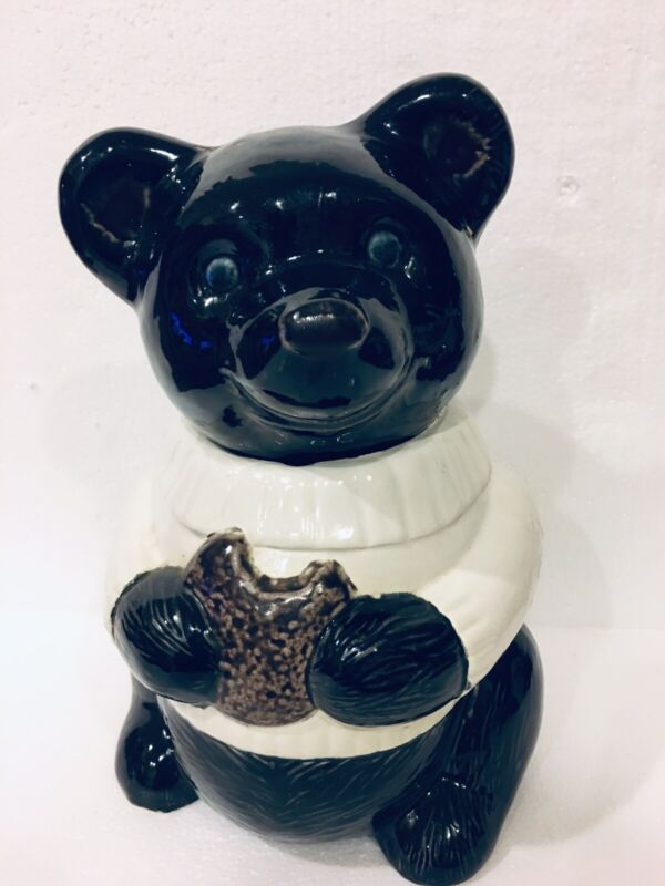 Adorable Vintage Black Bear In White Sweater Eating Cookie Ceramic Cookie Jar