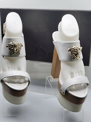 Versace Palazzo Women White Leather Platform Wood Block Heel Sandal–Size 41