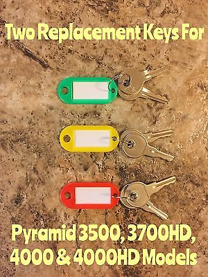 Two Replacement Keys For Pyramid 3500 3700 4000 4000hd Time Clock Models