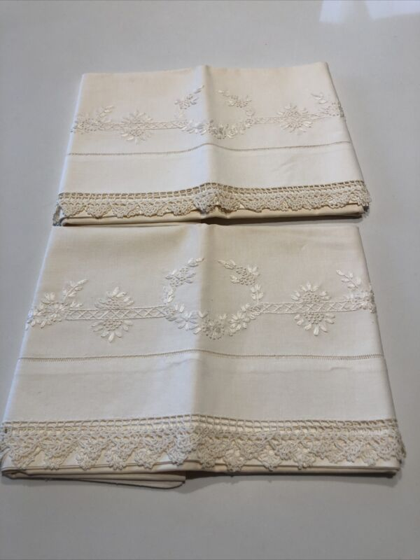 Exquisite Appenzell Type Embroidered Pillow Case Pair Lavish Flower Vine & Lace