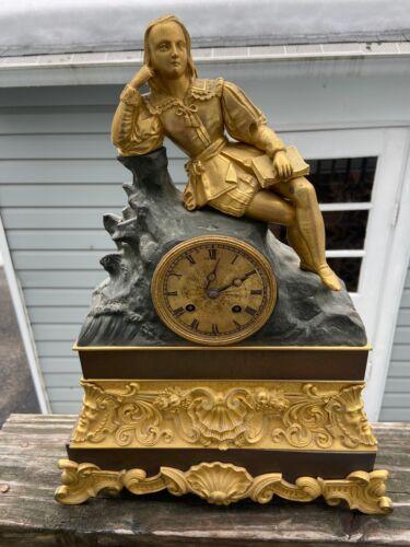 Antique French Gold Gilt Bronze Mantle Clock