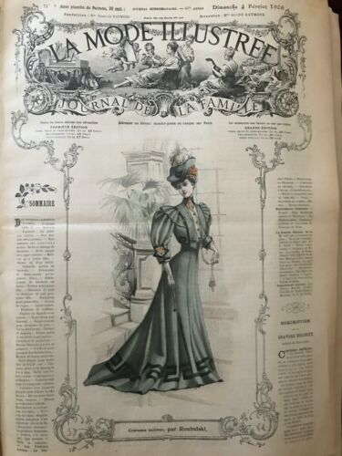 French MODE ILLUSTREE SEWING PATTERN Feb 4,1906 Costume tailleur, robe, corsages