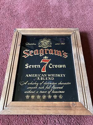 Vintage SEAGRAMS 7 Seven Crown American Whiskey BAR MIRROR SIGN