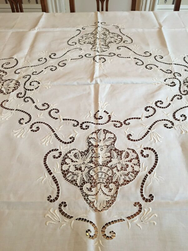 "Gorgeous Linen Tablecloth w/ Cutwork Lace, Lace Border 70"" by 104"""