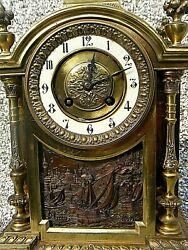 ANTIQUE MANTLE CLOCK AD MOUGIN  FRENCH CLOCK BRONZE GILT