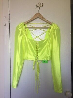 Jaded London Neon Yellow Corset Crop Top With Tie Details Milkmaid Style Size 10