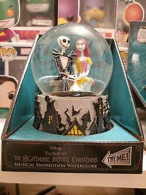 Disney Nightmare Before Christmas Snowmotion Musical WaterGlobe Jack Sally& Zero