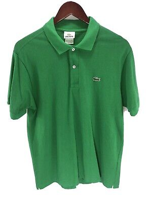 Mens LACOSTE Green Polo Shirt Short Sleeve, Size 4 (M)