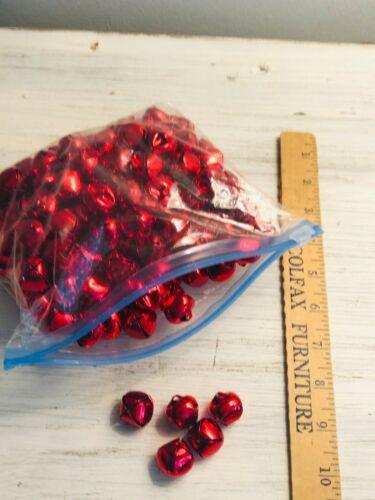 Quart Size Bag of Red Metal Craft Jingle Bells DIY Crafts