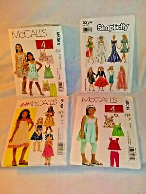 4 Girl Sewing Patterns Dress Leggings Shorts Tops- Barbie Doll Clothes Pattern