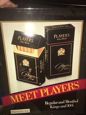 """Vintage Metal Cigarette Advertising Sign Players 21""""x17"""" Stout Industries USA"""