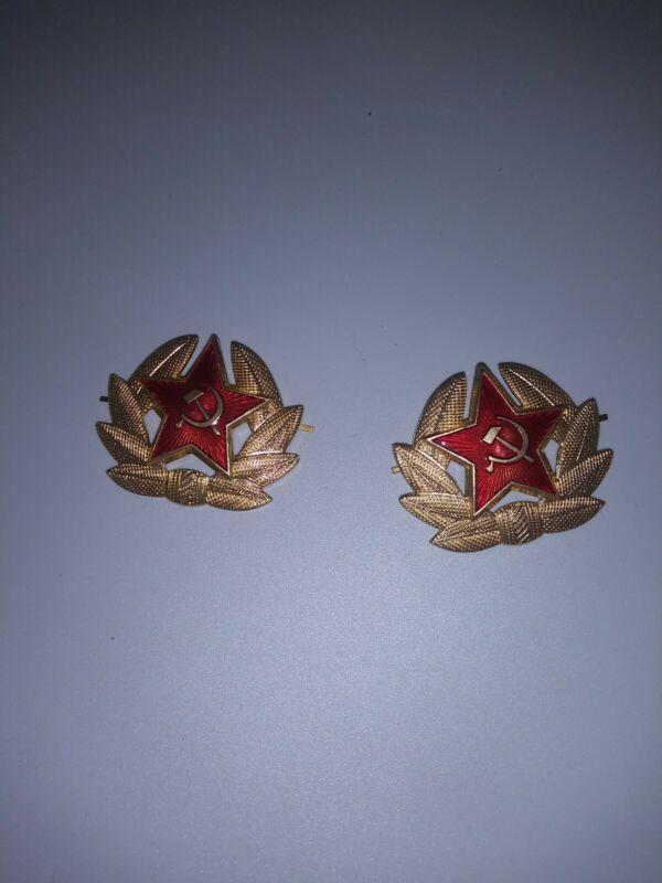 2 Vintage Kokarda Original USSR Soviet Union Russia Badge Army Red Star Hat Pins