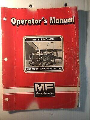 Massey Ferguson Mf 218 Mower Mid Mount 3-point Hitch Operators Manual