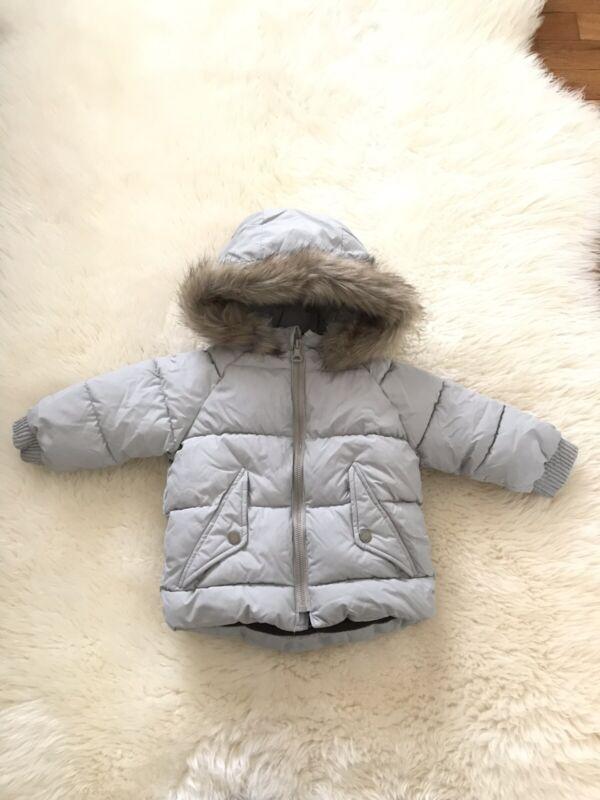 Zara Toddler Hooded Puffer Jacket Gray 12-18 Months