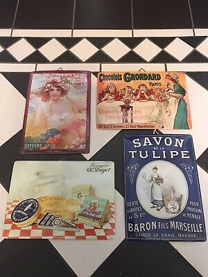 Éditions Clouet French Advertising Vintage Style Metal Hanging Signs Set Of 4